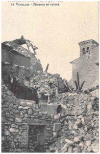 Photo de maisons en ruine après le tremblement de terre de 1909