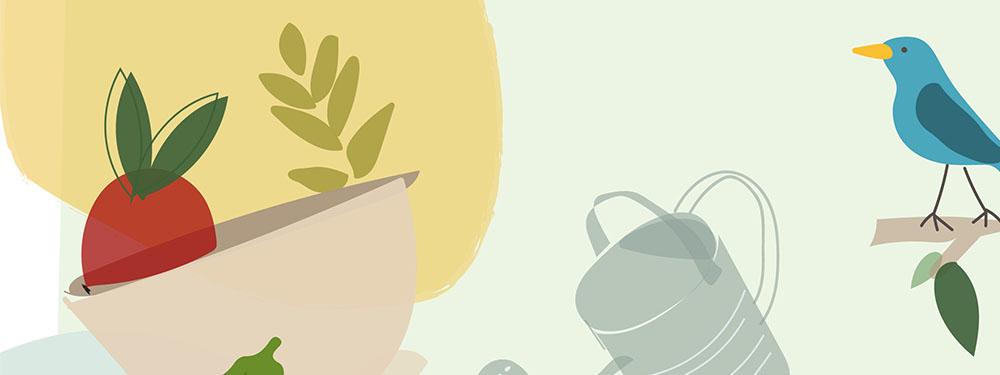 Illustration manger durable montrant des légumes, des oiseaux…