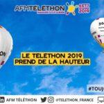 Affiche téléthon 2019 montrant des mongolfières dans le ciel : le téléthon prend de la hauteur
