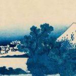 Illustration en bleu montrant un paysage japonais