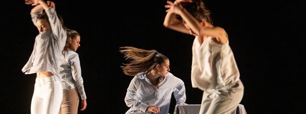 Photo de danseuses de la courbe et la plume en plein spectacle
