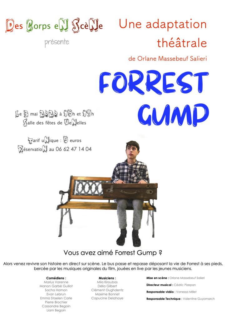 Affiche de la pièce de théâtre Forrest Gump des Corps en Scène