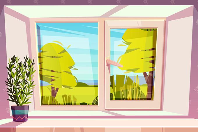 Illustration représentant une fenêtre fermée avec vue sur un paysage. À gauche de la fenêtre, sur le rebord, on distingue une plante.