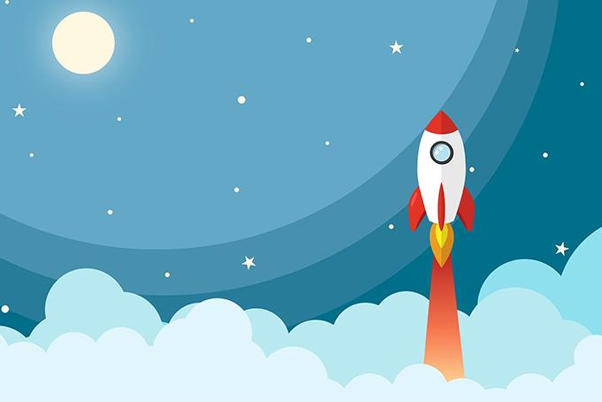 Illustration représentant une fusée qui décolle dans le ciel étoilé.