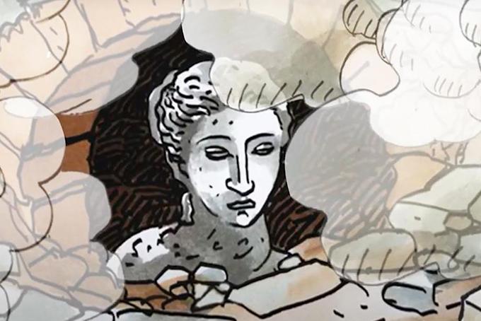 Illustration représentant une sculpture de la Vénus de Milo qui surgit de terre