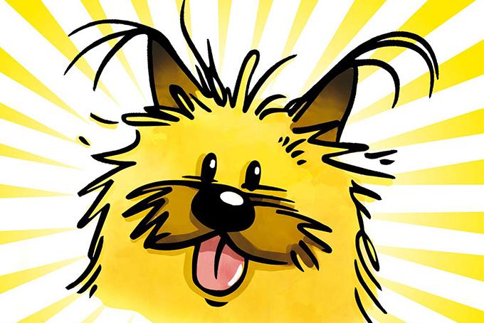 Illustration représentant Gurty, le chien célèbre de Benoît Santini. Il a les poils jaunes et marron, ébouriffés et tire la langue