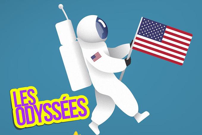 Illustration représentant un cosmonaute en train de marcher le drapeau américain à la main. On peut lire Les odyssées écrit en multicolore.