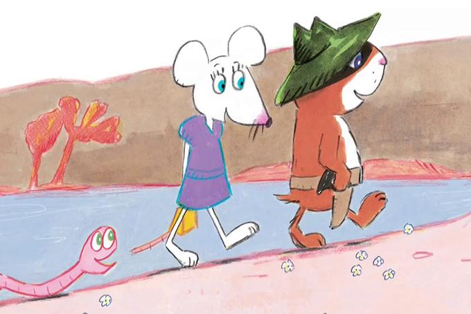 Illustration représentant un habillé en cowboy qui marche accompagné d'une souris et d'un vers de terre.