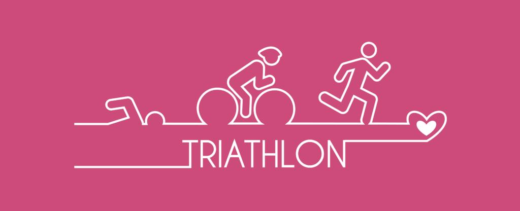 Illustration montrant un bonhomme qui nage, un courant et un autre sur un vélo pour le triathlon de l'espoir. LE tout sur un fond rose !