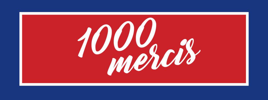 Typographie 1000 mercis sur un fond bleu/blanc/rouge