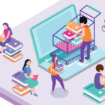 Illustration montrant un ordinateur avec des personnes assis sur des livres ou avec des livres en main