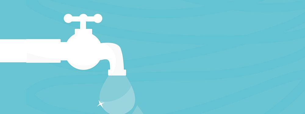 Illustration d'un robinet ouvert sur un fond bleu clair