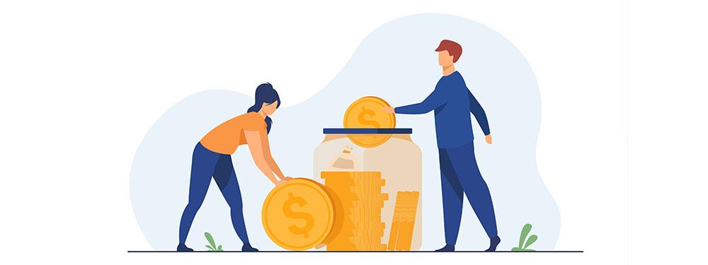 Illustratin montrant 2 personnes en train de mettre des pièces dans un vase