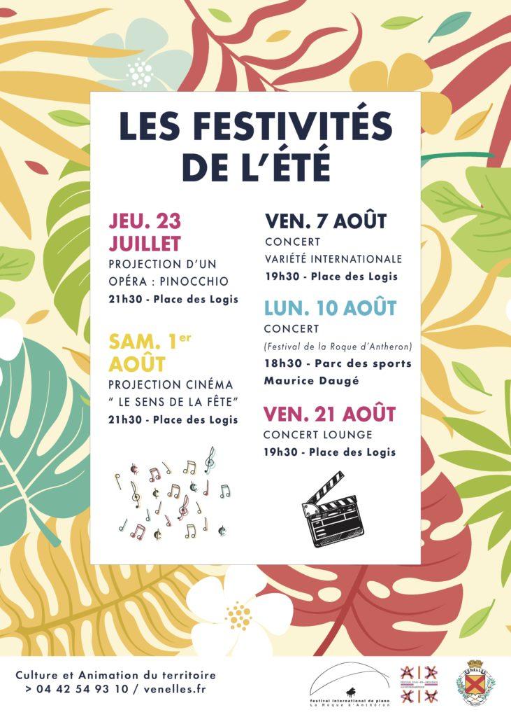 Affiche des festivités de l'été 2020 à Venelles