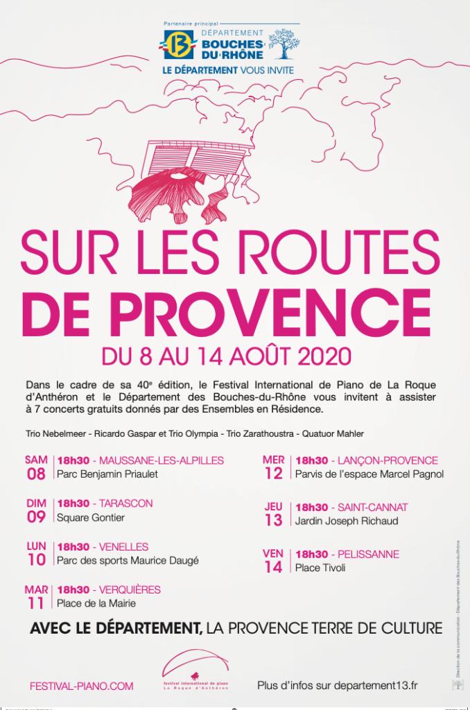 Affiche du concert : sur les routes de provence avec toutes les dates de la tournée d'été