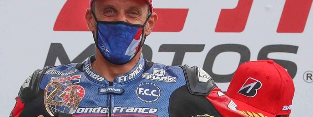 Photo de Freddy Foray victorieux des 24h du Mans Moto