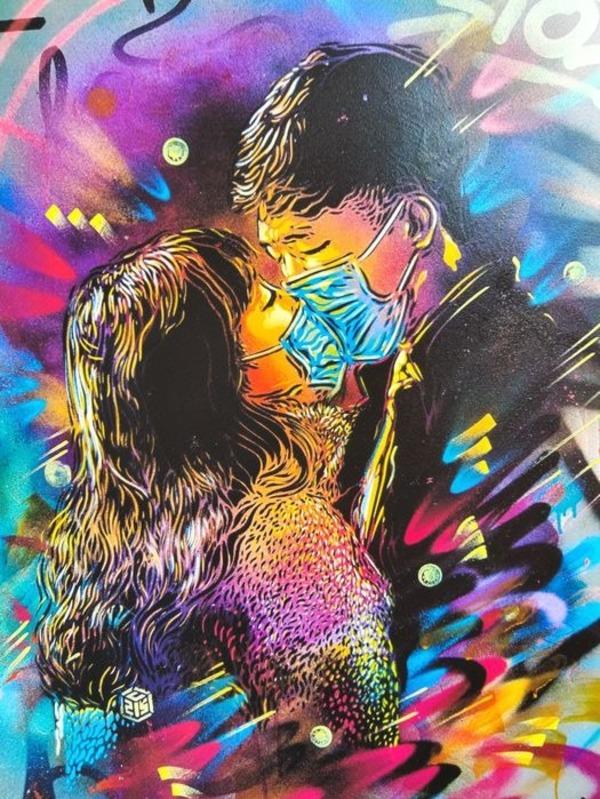 Oeuvre L'amour au temps du Coronavirus de C215