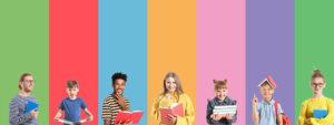 Photo de personnes différentes : femmes, hommes, enfants, portant des livres sur un fond coloré