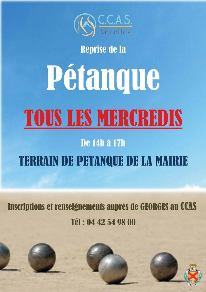 Affiche pour les mercredis pétanque du CCAS