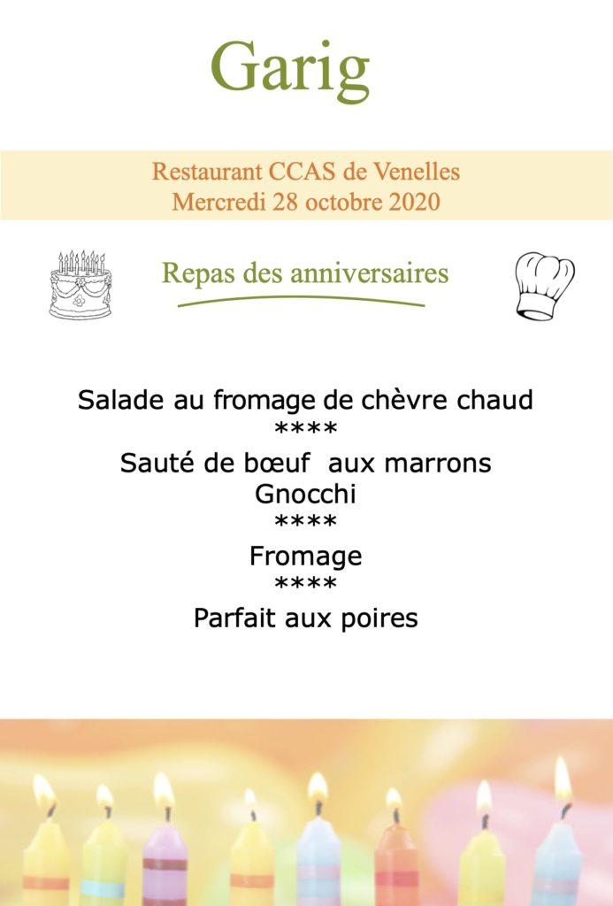 Menu du repas d'anniversaire du CCAS du 28 octobre 2020