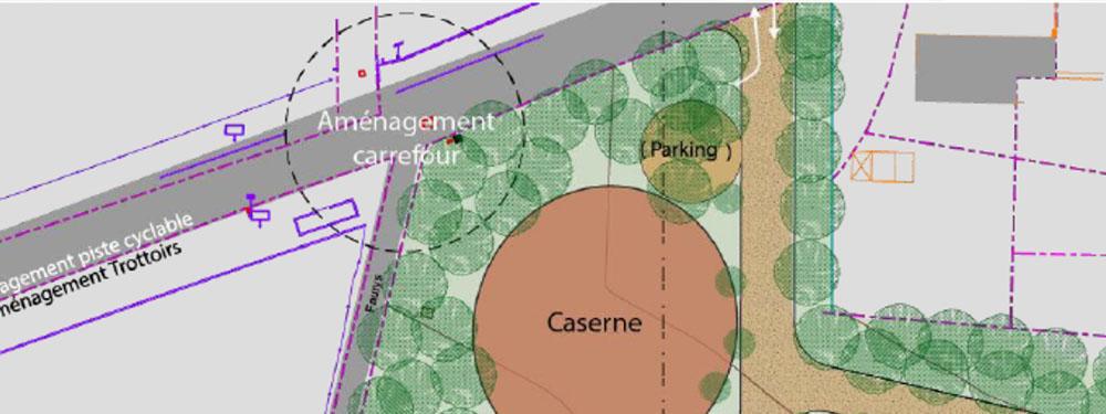 Plan de la ville de Venelles montrant le projet d'aménagement de la nouvelle gendarmerie