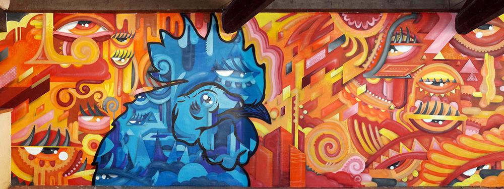 """Photo de l'oeuvre de street Art """"Psi'coq"""" de Psico"""