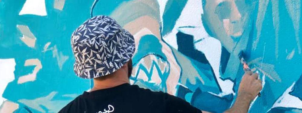 """Photo de l'oeuvre de street Art """"Rumbo"""" de l'artiste Difuz"""