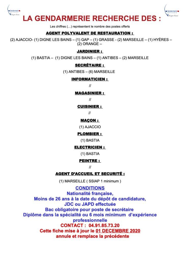 Tableau récapitulatif poste à pourvoir dans la gendarmerie nationale - décembre 2020