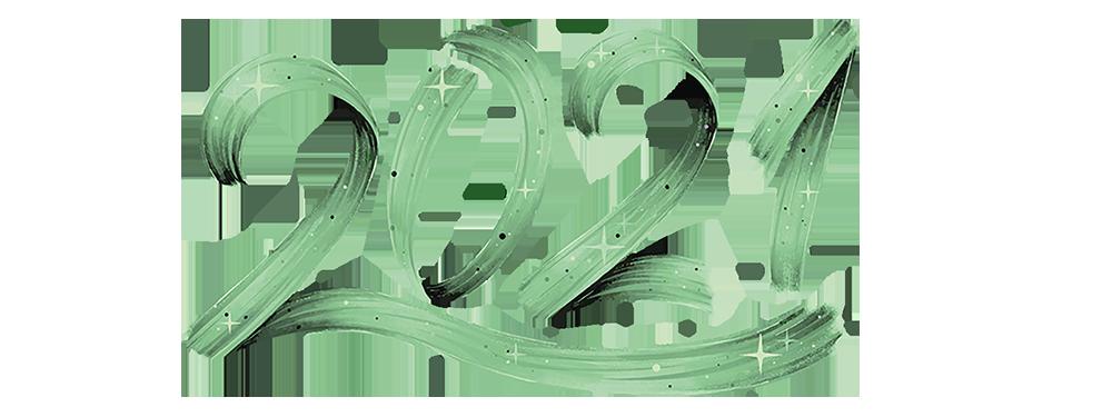Illustration 2021 de la carte de voeux de la ville de Venelles - 2021 écrit en lettres stylisées