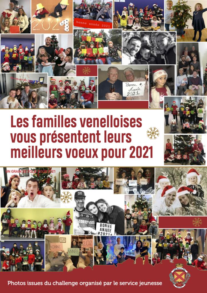 Affiche du projet du service Jeunesse : les familles venelloises vous présentent leurs meilleurs vœux pour 2021