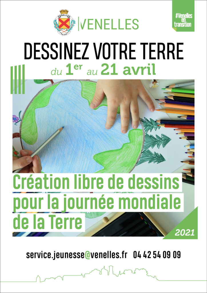 Affiche défi engagé : dessinez votre terre organisé par le service jeunesse