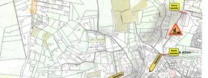 Plan des travaux du quartier de Foncuberte avec les routes barrées et les déviations associées