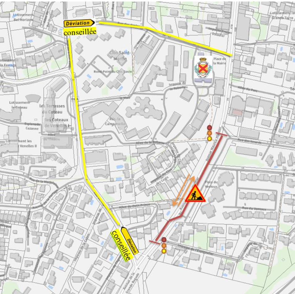 Plan de déviation des travaux de la REPA Avenue Maurice Plantier