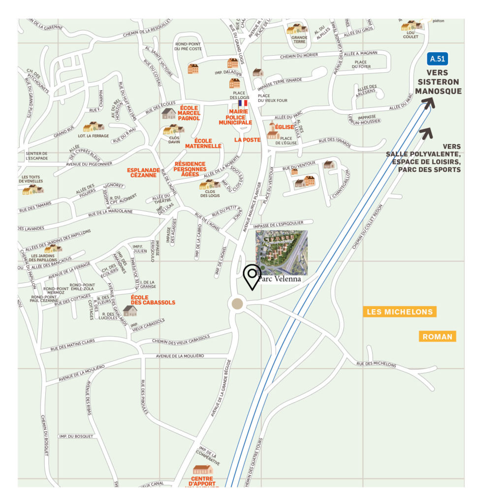 Plan de localisation du Parc Venella aux Michelons