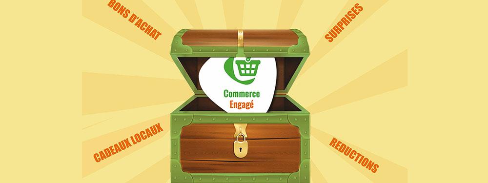 Illustration montrant un coffre ouvert avec le logo Commerce engagé sortant du coffre