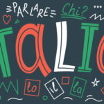 Illustration avec des mots italien aux couleurs du drapeau italien