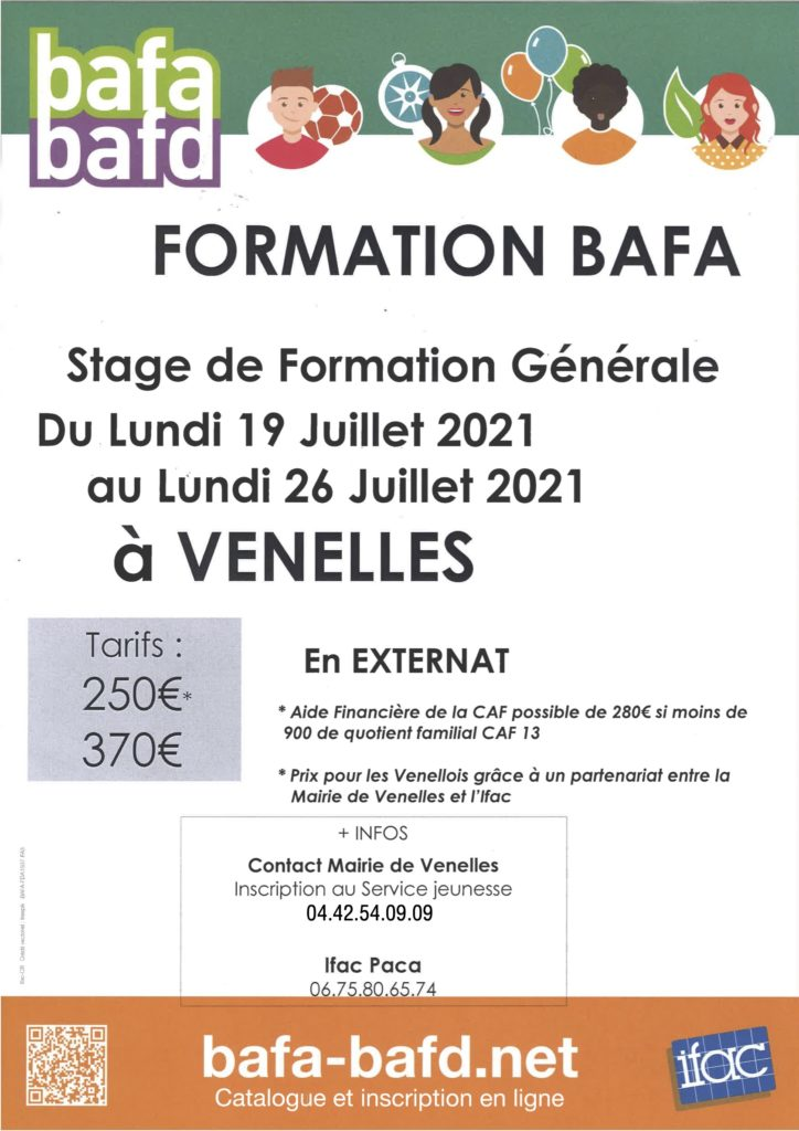 Affiche formation BAFA de Venelles