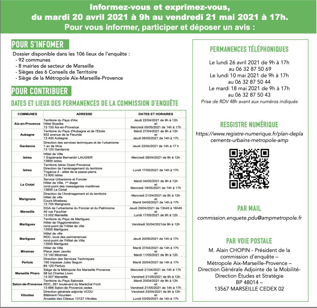 Information sur l'enquête publique sur le plan de déplacement urbain de la Métropole Aix-Marseille Provence