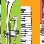 Illustration avec des dessins d'instruments de musique : piano, micro, guitare sur des fonds colorés