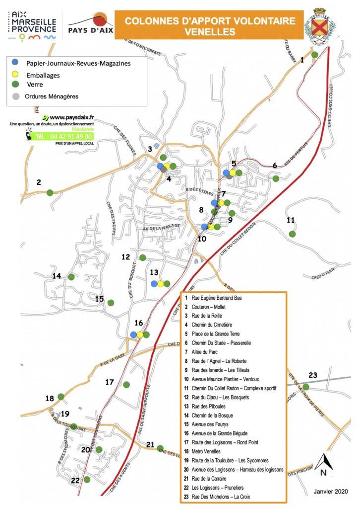 Carte des points d'apports volontaires de la ville de Venelles