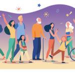 Illustration montrant des personnes en situation de handicap et leur aidant