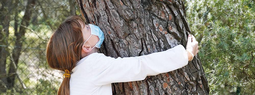 Photo montrant une petite fille tenant dans ses bras un arbre