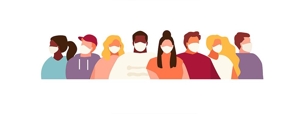 Illustration avec des hommes et des femmes portant des masques