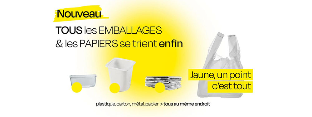 Affiche nouveau tri des déchets : emballages et papiers