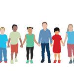 Illustration d'enfants se tenant par la main
