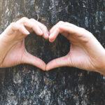 Photo d'un enfant les bras entourés autour d'un arbre faisant un coeur avec les mains