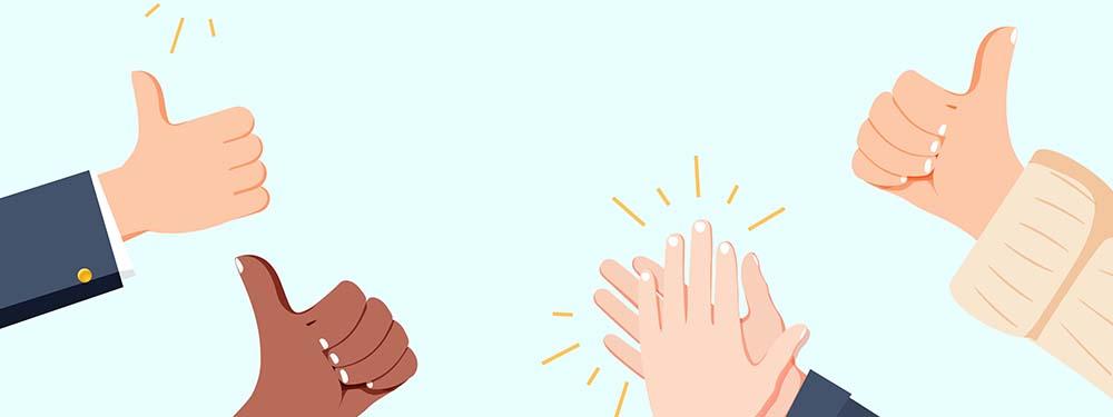 Illustration montrant des mains applaudissant et des pouces en l'air