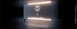 Photo du PAVVB devant un écran noir montrant le logo du club