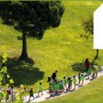 Photo montrant des enfants marchant dans un jardin