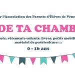 """Affiche de l'événement """"Vide ta chambre"""" organisé par l'APEV"""